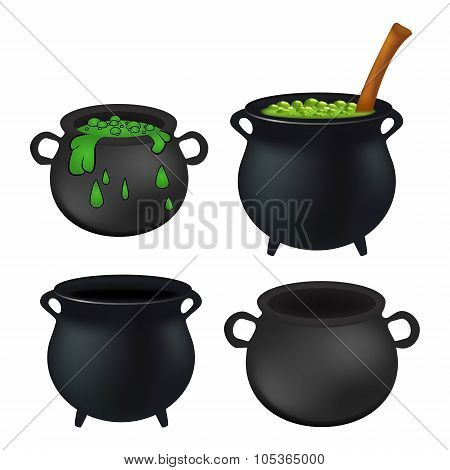 Witch Cauldron Empty And With Green Potion, Bubbling Witches Brew Set. Realistic Vector Illustration