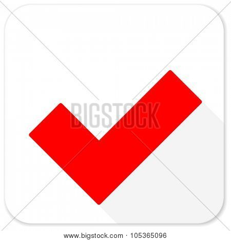accept red flat icon with long shadow on white background