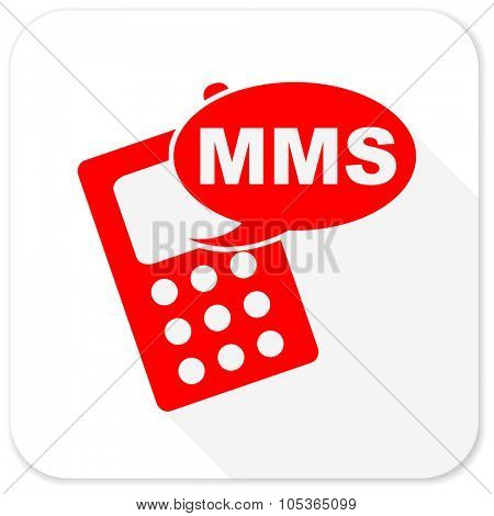 mms red flat icon with long shadow on white background