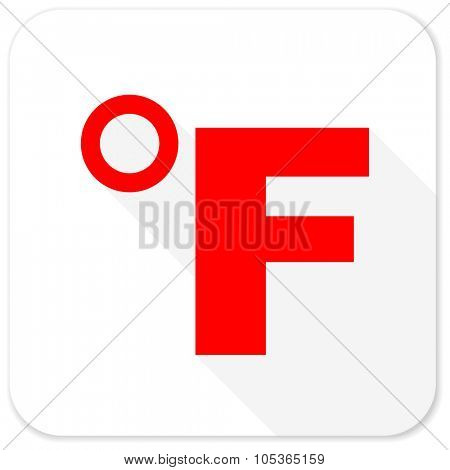 fahrenheit red flat icon with long shadow on white background