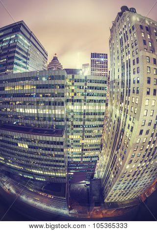Instagram Style Fisheye Lens Night View Of Manhattan, Nyc.