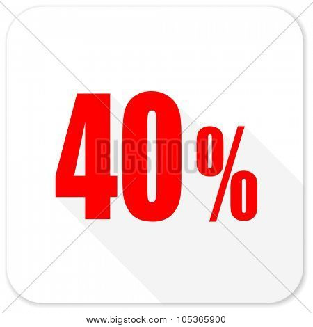 40 percent red flat icon with long shadow on white background