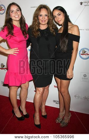 LOS ANGELES - OCT 17:  Catherine Bach, Sophia Isabella Lopez, Laura Esmeralda Lopez at the  LAPD Eagle & Badge Foundation Gala at the Century Plaza Hotel on October 17, 2015 in Century City, CA