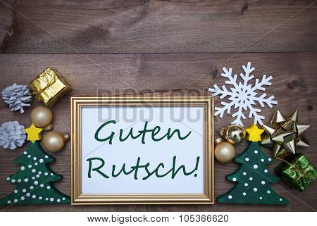 Frame With Christmas Decoration, Guten Rutsch Mean New Year