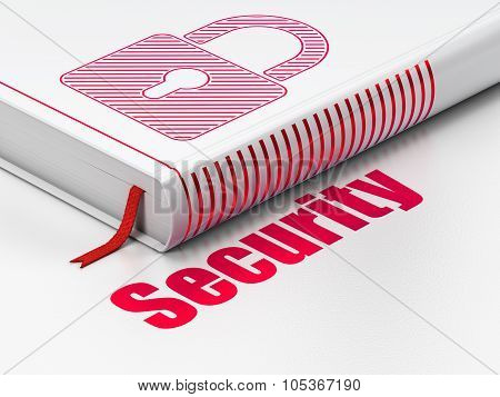 Privacy concept: book Closed Padlock, Security on white background