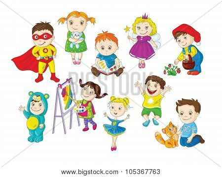 A collection of happy active children doing different activities