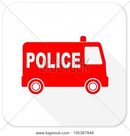 police red flat icon with long shadow on white background