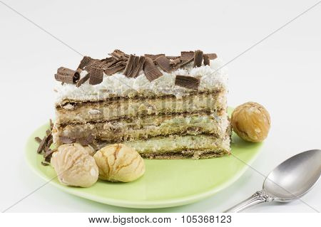 Chestnut Cake Slice On A Green Plate