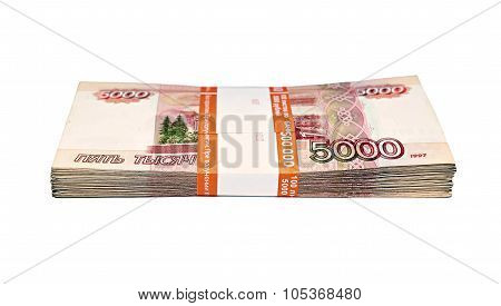 Stack Of Five Thousandth Ruble Banknotes