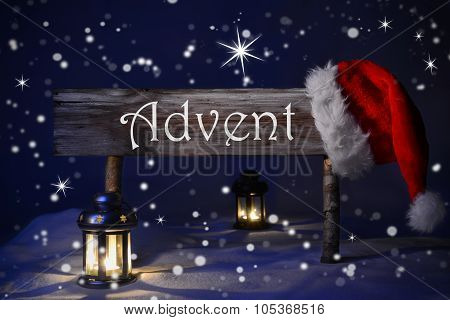 Sign Candlelight Santa Hat Advent Means Christmas Time
