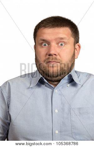 Portrait of a surprised bearded man