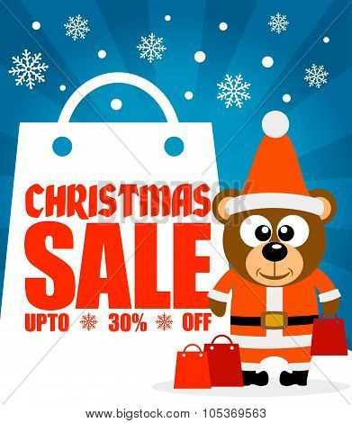 Christmas sale background with bear vector
