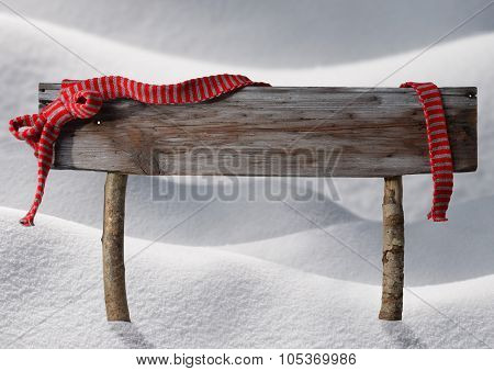 Brown Christmas Sign Copy Space Snow, Red Ribbon