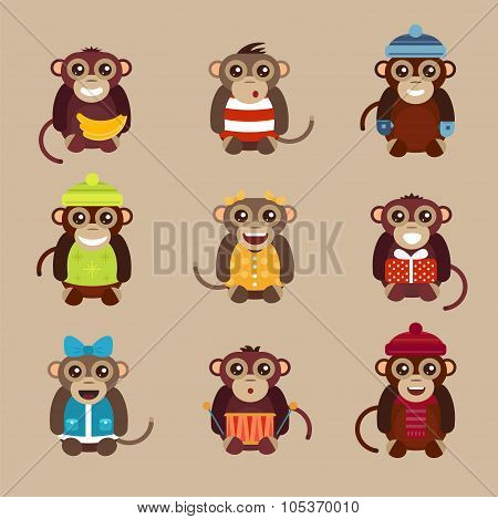Happy cartoon vector monkey flat