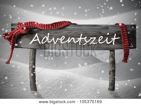 Sign Adventszeit Mean Crhistmas Time Snow,Red Ribbon, Snowflakes