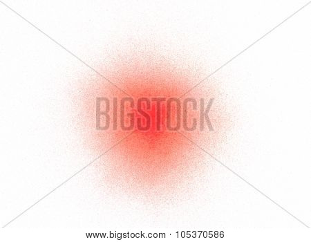 Spray red paint splatters, isolated on white