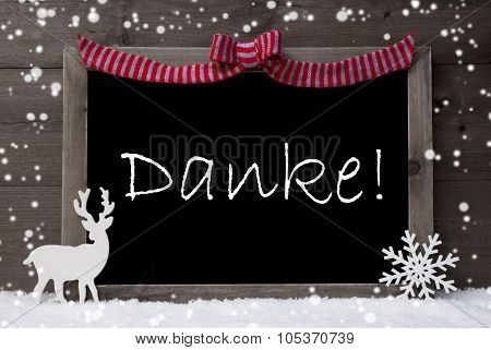 Gray Christmas Card, Snowflakes, Loop, Danke Mean Thank You