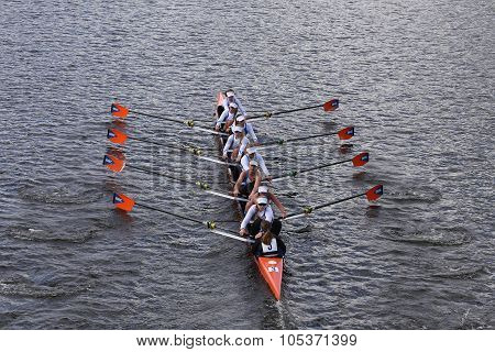 OKC Riversport races in the Head of Charles Regatta Women's Youth Eights