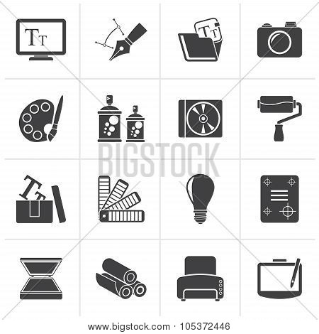 Black Graphic and website design icons