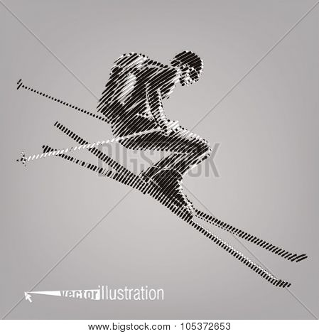 Freerider is skiing. Vector artwork in the style of ink drawing