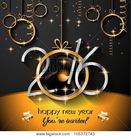 2016 Christmas and Happy New Year Party flyer. Complete layout with space for text for your dinner invitation, xmas parties or new year's eve party flyer.