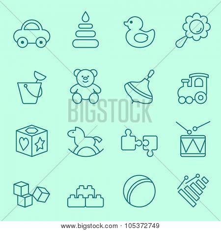 Toys icon set, thin line design