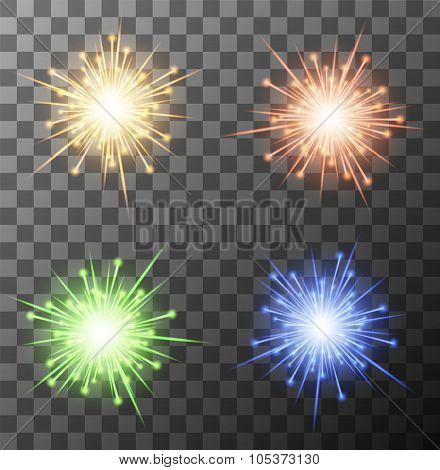 Vector modern fireworks set on sample background