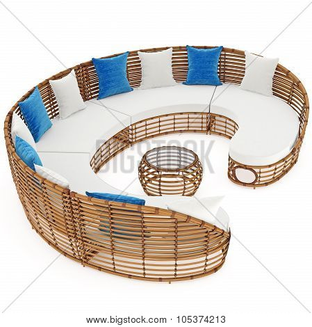 Rattan sofa to relax outdoors. 3D graphic