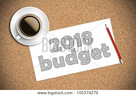 Coffee And Pencil Sketch 2018 Budget On Paper