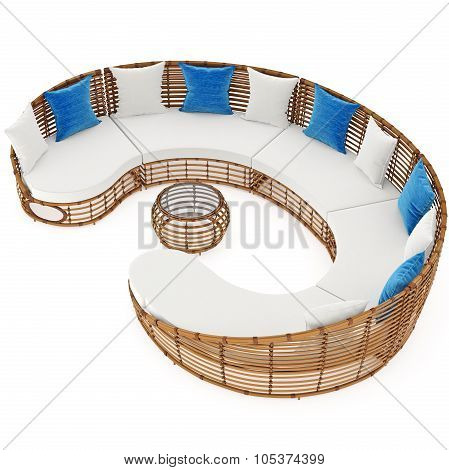 Long sofa with rattan and cushions. 3D graphic