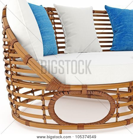 Rattan sofa with pillows zoomed view. 3D graphic