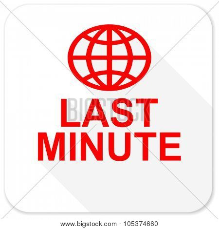 last minute red flat icon with long shadow on white background