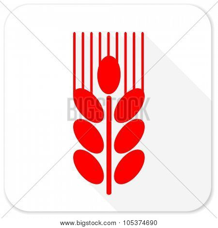 grain red flat icon with long shadow on white background