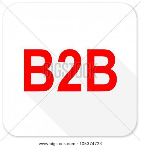 b2b red flat icon with long shadow on white background