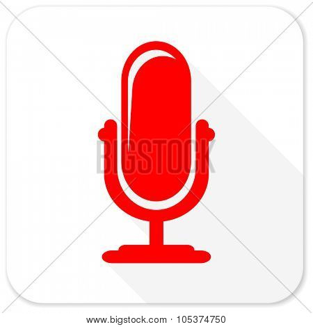 microphone red flat icon with long shadow on white background