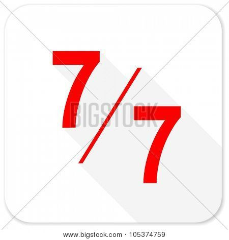 7 per 7 red flat icon with long shadow on white background