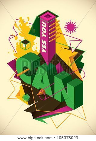 Conceptual abstraction with typography. Vector illustration.