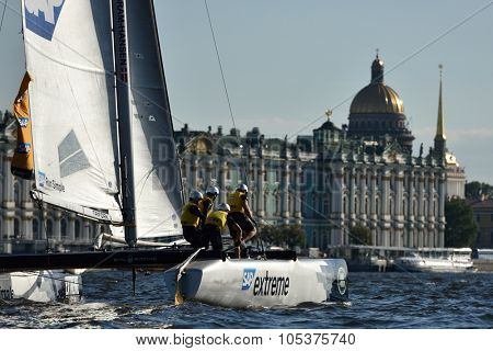 ST. PETERSBURG, RUSSIA - AUGUST 20, 2015: Catamaran of SAP Extreme Sailing Team of Denmark during the 1st day of St. Petersburg stage of Extreme Sailing Series. Red Bull Sailing Team won the day