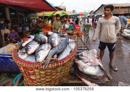 MANDALAY,MYANMAR,JANUARY 19, 2015 : View on a stall of fresh fishes in a dirty muddy street of a small market in Mandalay, Myanmar (Burma).