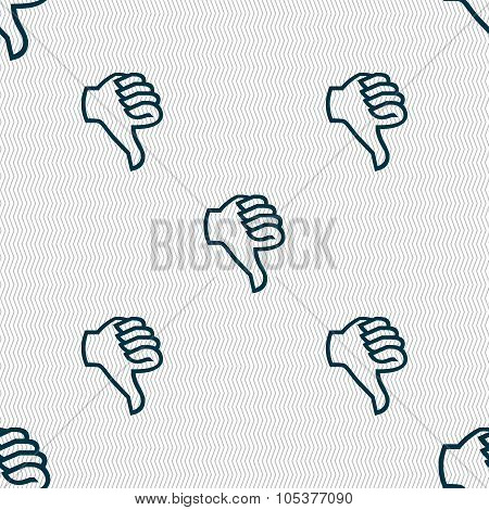 Dislike Sign Icon. Thumb Down. Hand Finger Down Symbol. Seamless Abstract Background With