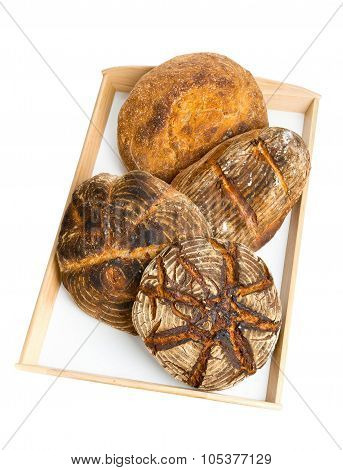 Bread Loaves On Serving Tray