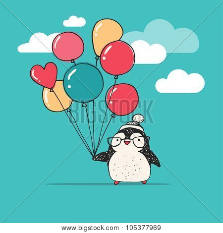 Cute doodle vector penguin with balloons - Merry Christmas greetings
