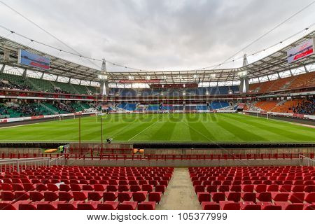MOSCOW, RUSSIA - NOV 02, 2014: Empty seats after end of match.