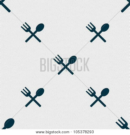 Fork And Spoon Crosswise, Cutlery, Eat Icon Sign. Seamless Abstract Background With Geometric
