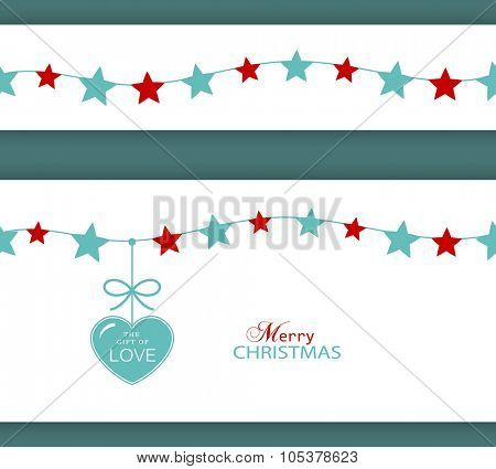 Set of two borders which will tile seamlessly. Stars hanging on a string with a heart with ribbon saying The Gift of Love.