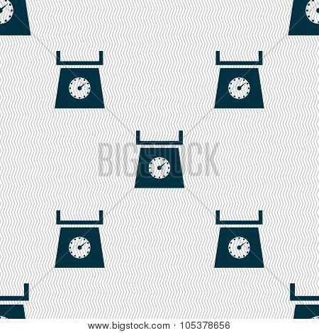 Kitchen Scales Icon Sign. Seamless Abstract Background With Geometric Shapes. Vector