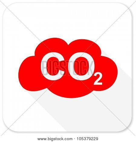 carbon dioxide red flat icon with long shadow on white background