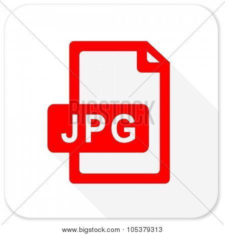 jpg file red flat icon with long shadow on white background