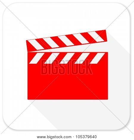 video red flat icon with long shadow on white background