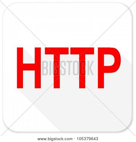 http red flat icon with long shadow on white background